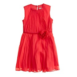 Girls' rosette dress in crinkle chiffon