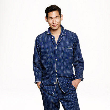 Slim cotton poplin pajama set in navy dots