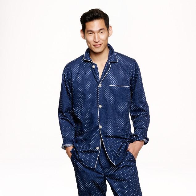 Slim cotton poplin pajama set in navy dots