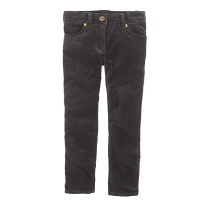 Girls' toothpick jean in velvet