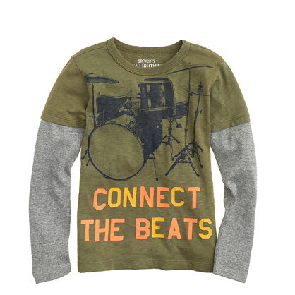 Boys' long-sleeve 2-in-1 drums tee