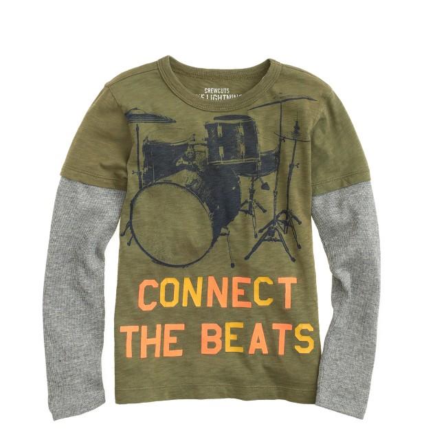 Boys' long-sleeve 2-in-1 drums tee