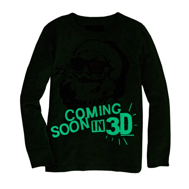 Boys' long-sleeve glow-in-the-dark Santa tee