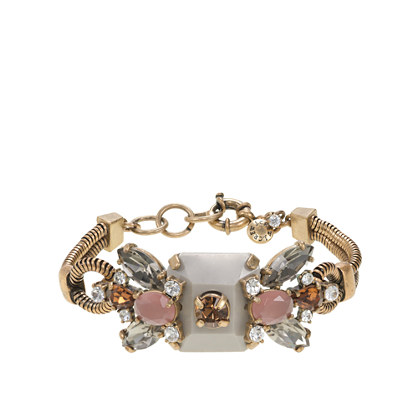 Crystal and stone row bracelet