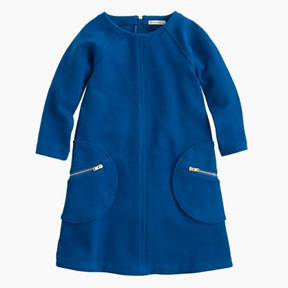 Girls' shift dress with zippers