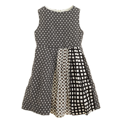 Girls' pleated print mix dress