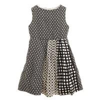 Girls' pleated print mix dress