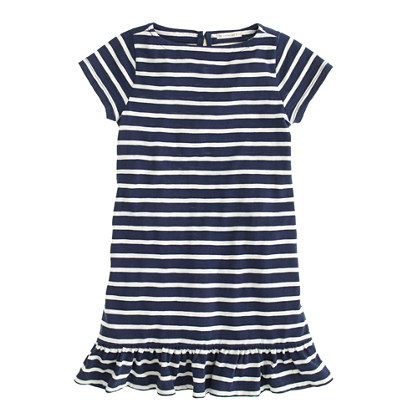 Girls' ruffle-hem tee dress in stripe