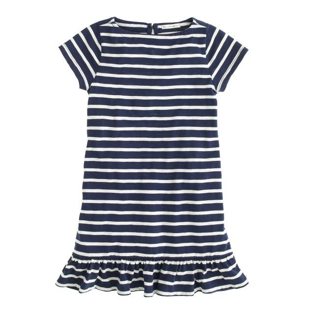 Girls' ruffle-hem tee dress in stripe