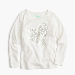 Girls' long-sleeve sequin heart T-shirt