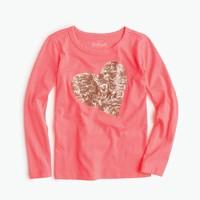 Girls' long-sleeve sequin heart T-shirt