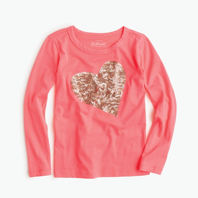 Girls 39 long sleeve sequin heart t shirt j crew for Girls sequin t shirt