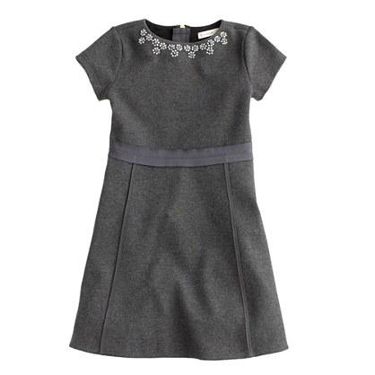 Girls' ribbon-trim jeweled dress
