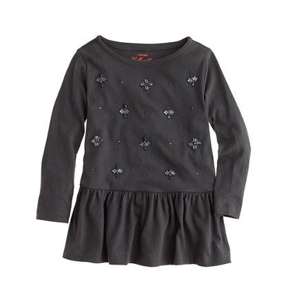 Girls' jeweled peplum tee