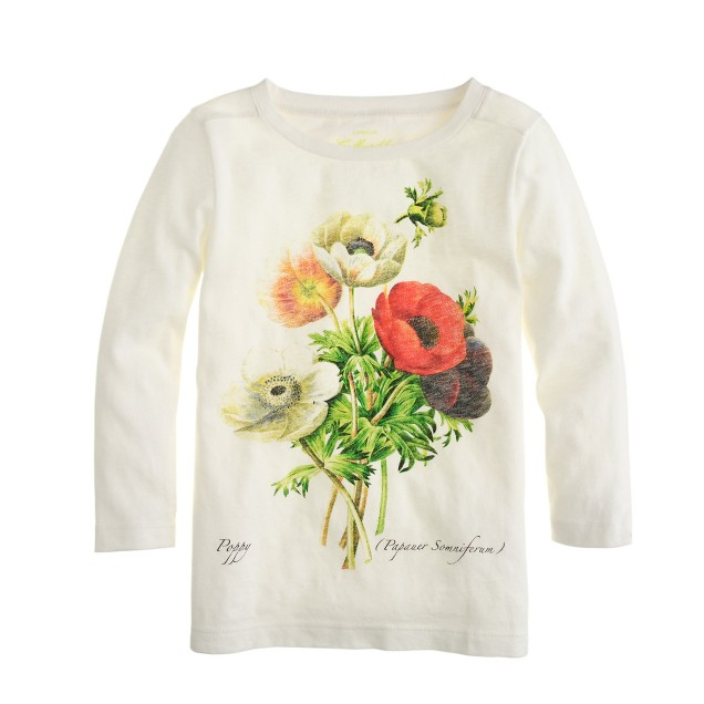 Girls' botanical poppy tee