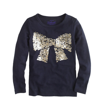 Girls' long-sleeve paillette bow tee