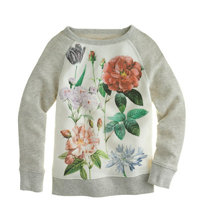 Girls' garden floral baseball sweatshirt