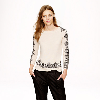 Merino embroidered-lace sweater
