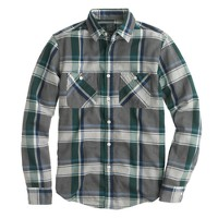 Flannel shirt in overcast blue herringbone plaid