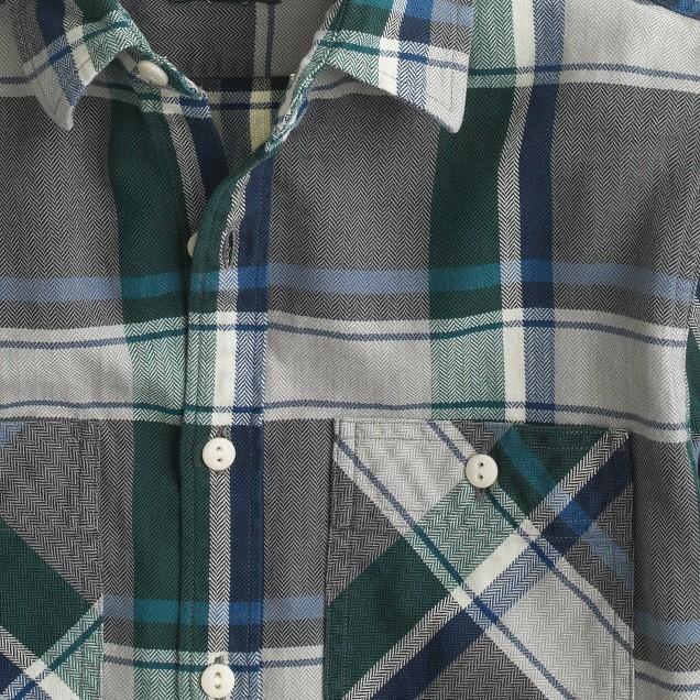 Flannel shirt in overcast blue herringbone plaid