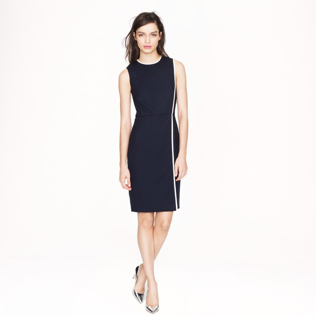 Piped wool dress in Super 120s
