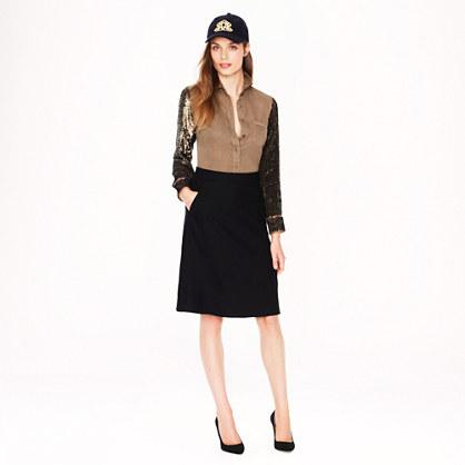 Petite wool A-line skirt