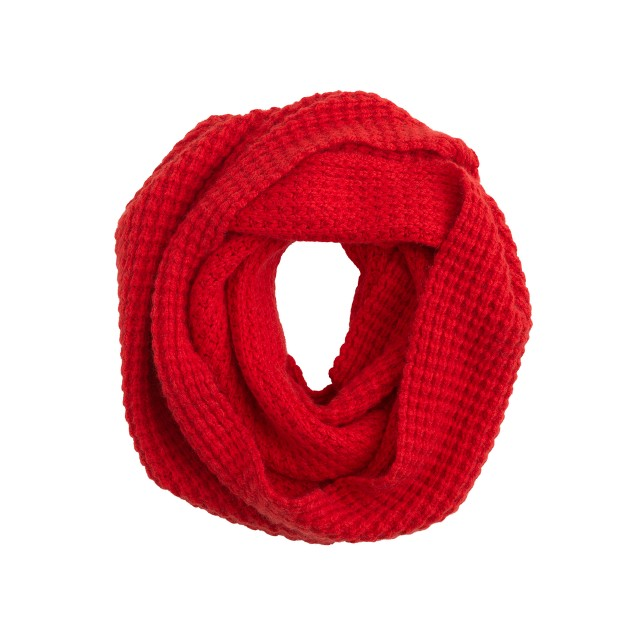 Waffle-stitch infinity scarf