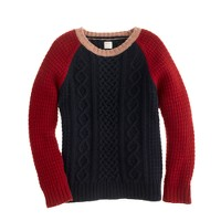 Boys' lambswool baseball sweater