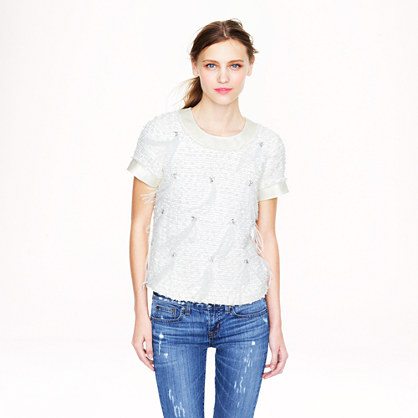 Beaded feather tee