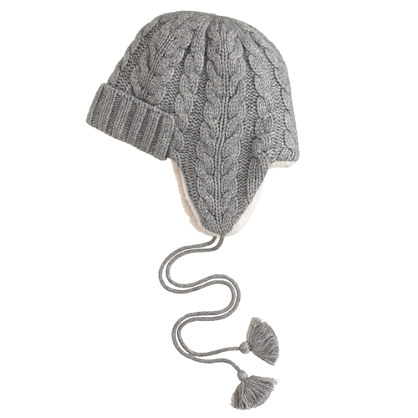 Cable-knit trapper hat