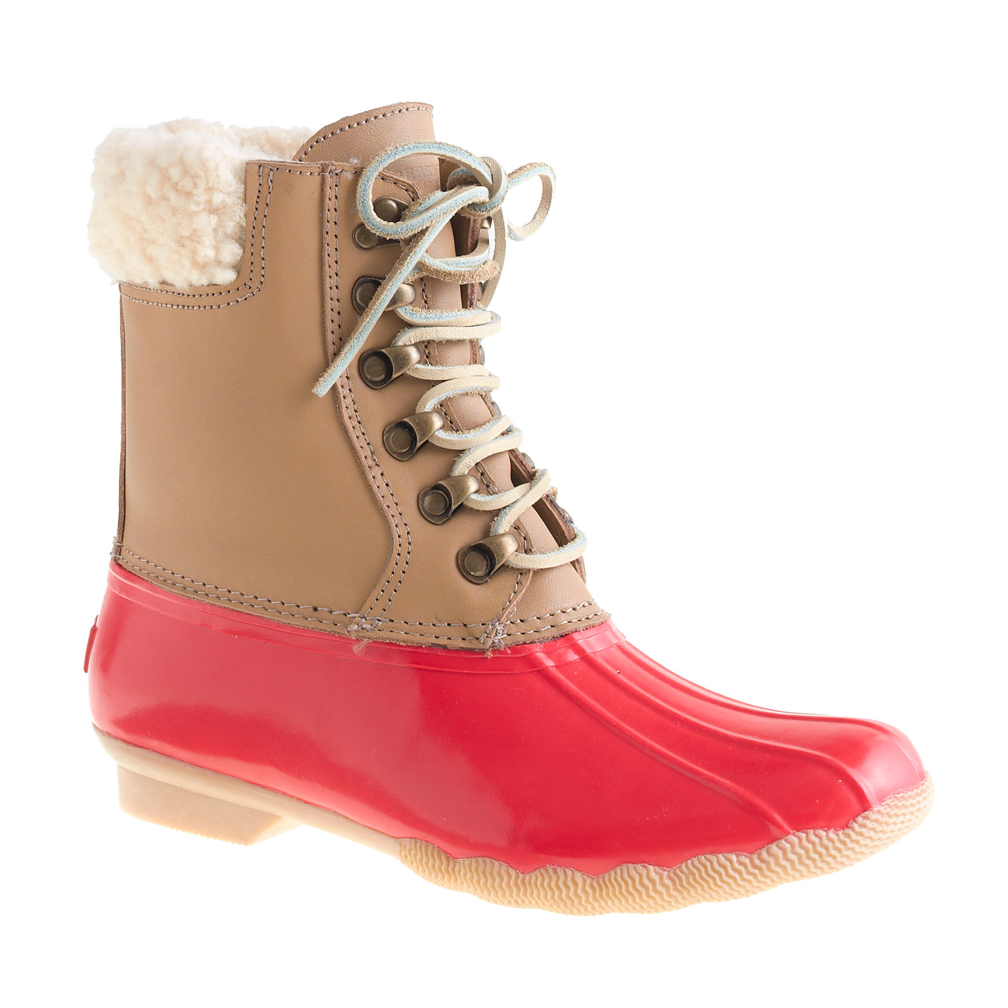Simple Sperry Ladies Saltwater Quilted Duck Boots - Red