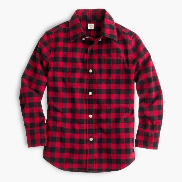 Kids' oxford cotton shirt in buffalo check