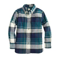 Boys' oxford cotton shirt in montclair navy plaid