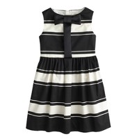 Girls' stripe bow-placket dress