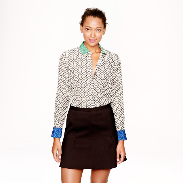 Colorblock silk foulard blouse