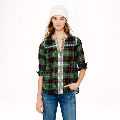 Embroidered peasant top in green plaid