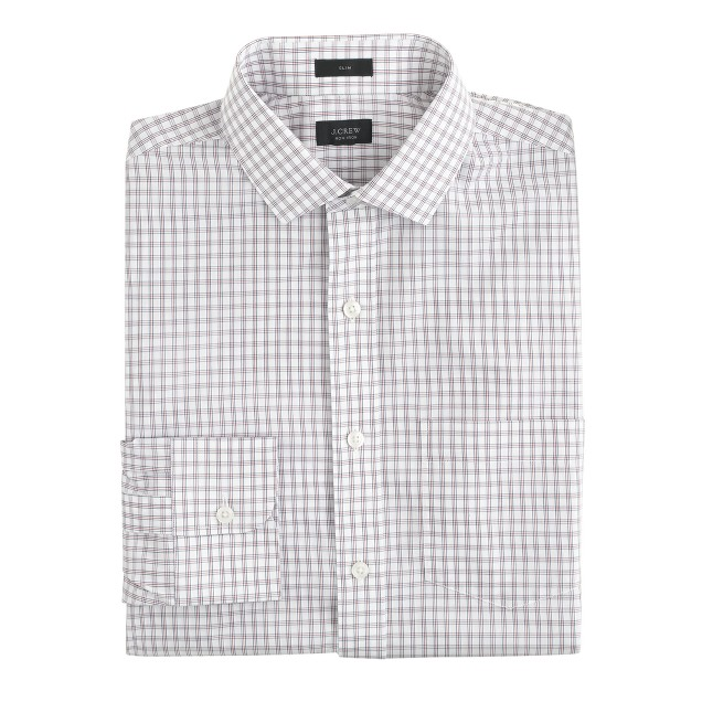 Slim non-iron spread-collar shirt in chili powder check
