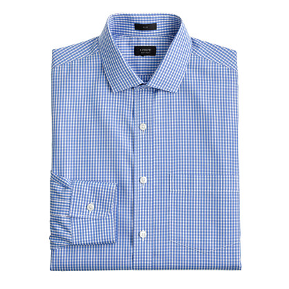 Slim non-iron spread-collar shirt in port blue check