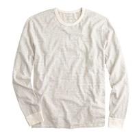 Long-sleeve cotton jersey tee in mountain white stripe