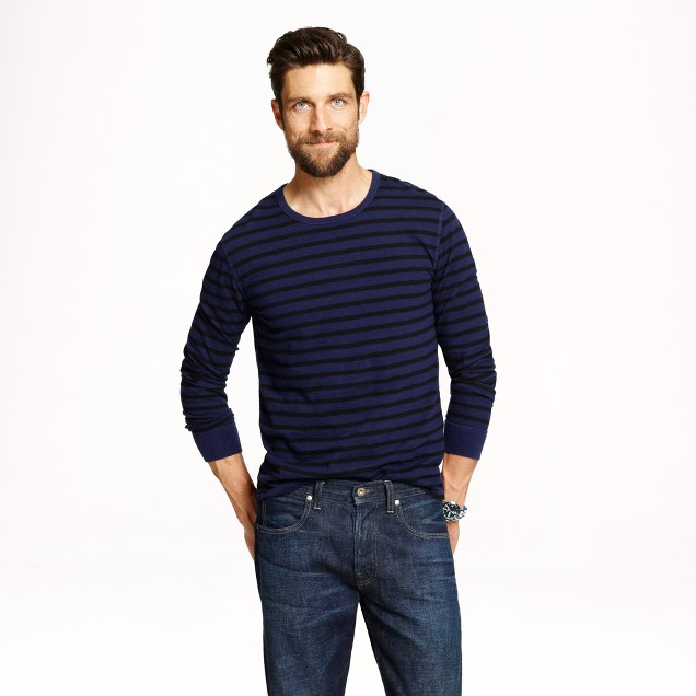 Long-sleeve cotton jersey tee in deep ultramarine stripe