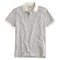 Cotton jersey polo in mountain white variegated stripe