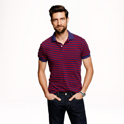 Cotton jersey polo in historic blue nautical stripe