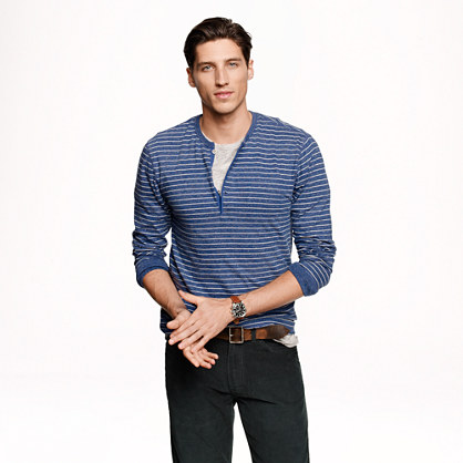 Slim long-sleeve flagstone henley in marled indigo stripe