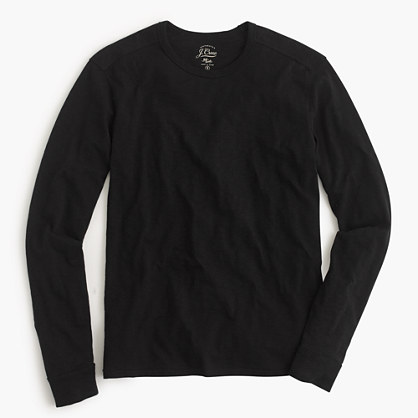 Tall long-sleeve textured cotton T-shirt