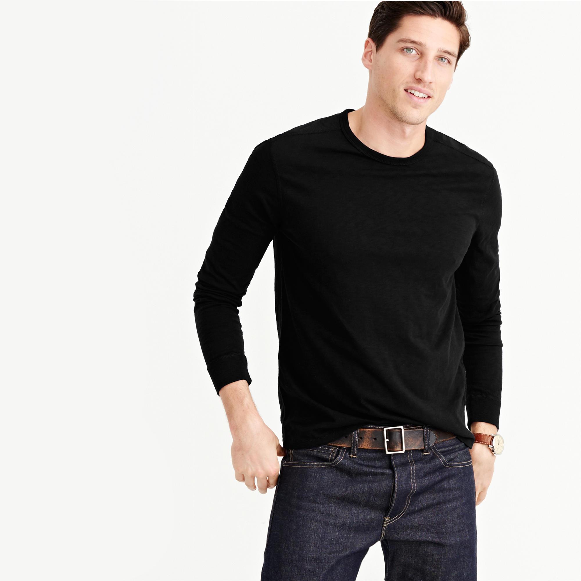 J.crew Men's Long-sleeve Textured Cotton T-shirt (White / Navy)