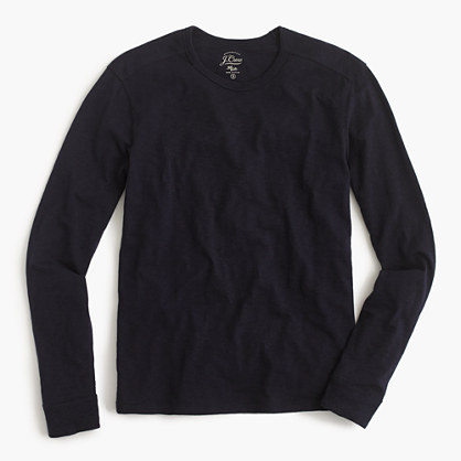 Long-sleeve textured cotton T-shirt