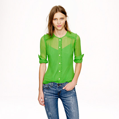 Collection ruffle-trim chiffon blouse