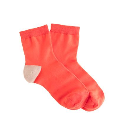 Contrast-heel anklet socks