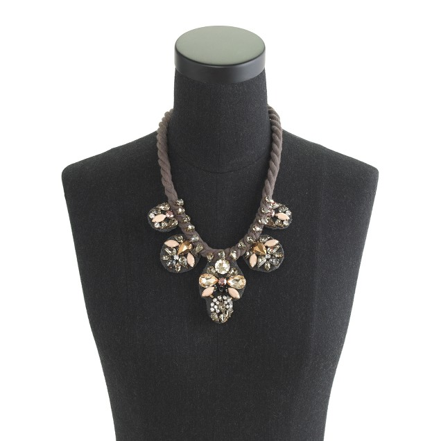Metallized crystal statement necklace