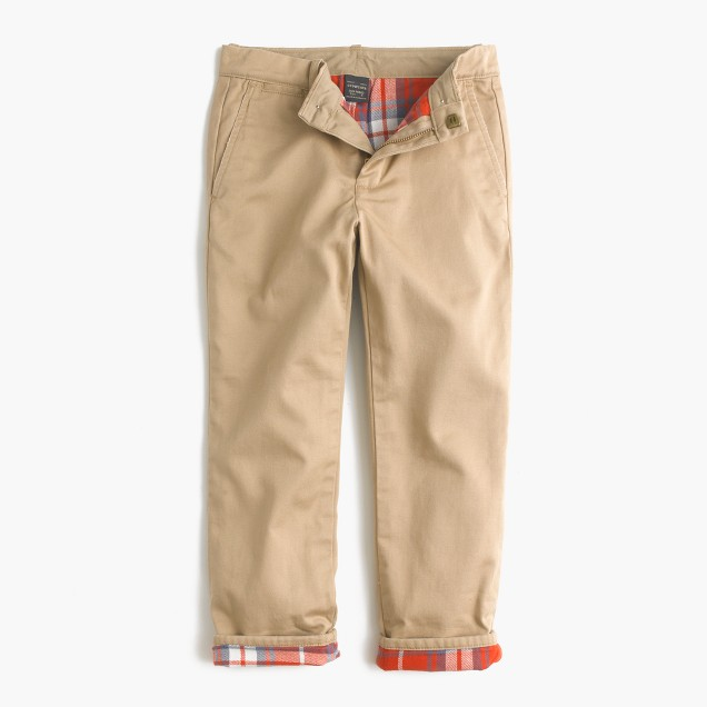 Boys' flannel-lined cozy chino pant